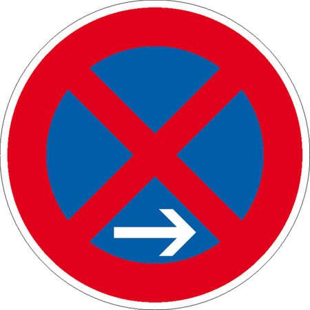 zebra stripes nearest gas station: traffic signs Illustration