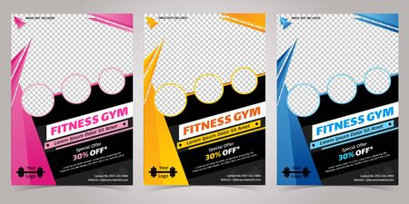 Pink, Yellow and Blue Multi color fitness Club body building and gym flyer A4 size template Pamphlet or flyer banner in one file, You can easily put four Photos in it.