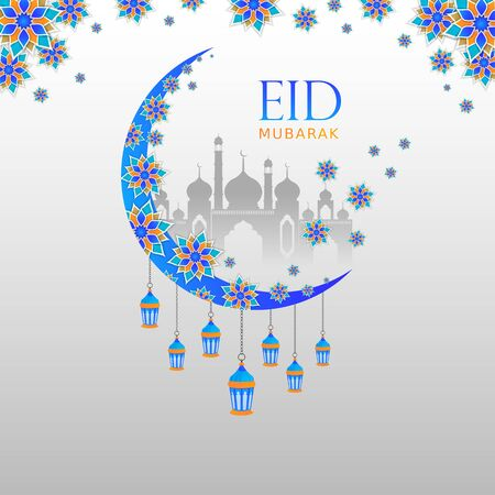 Eid Mubarak Background Design with Beautiful Floral Moon, Masjid, Hanging Lamp and Mandala for Promotional Advertise. 向量圖像