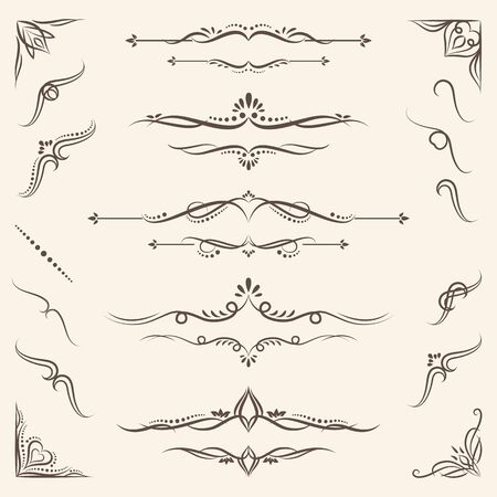Set of Floursihes Vector Design Elements with corners, border, calligraphic combinations design for your text delimiters vintage floral look Invitations, Posters, Badges, Logotypes and other design.