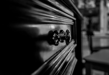 Close Up On Wooden Drawer In Black And White