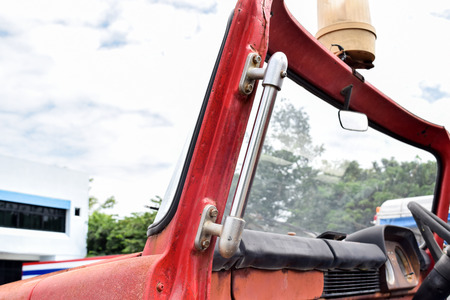 public servants: old fire truck glass