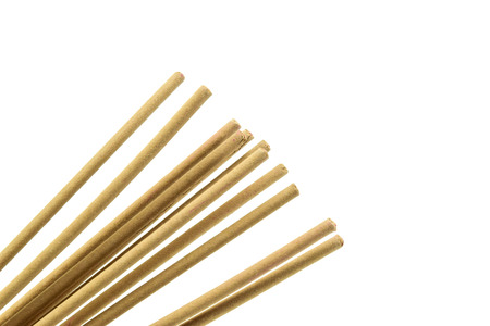 temple burn: incense stick on white background isolated
