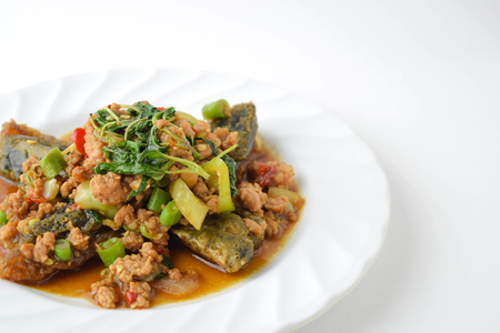 long bean: stir fired minced pork with basil top on fired preserved egg