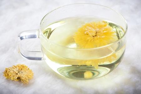 Chrysanthemum tea in a glass cup