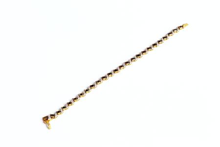 Golden bracelet with Gem isolated on white background.