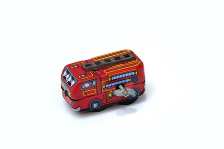 antique fire truck: Fire Truck Tin Toy on white background