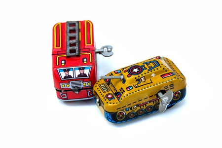 antique fire truck: old tin toy collection Stock Photo