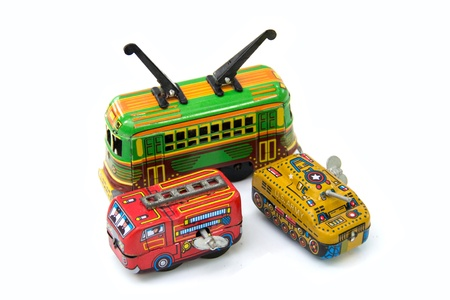 antique fire truck: Tin Toy on white background