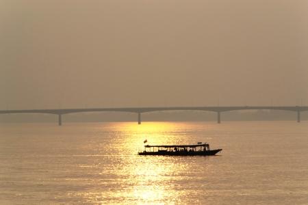 khong river: Sunset at Khong river is border between Thailand and Lao