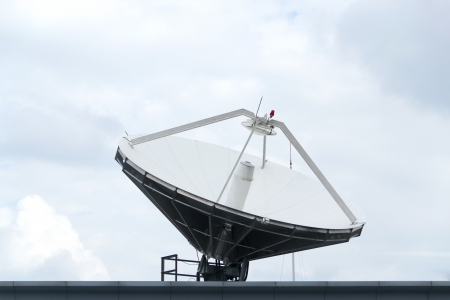 satellite dishes on TV station photo