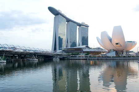 Marina Bay Waterfront in Singapore,featuring Marina Bay Sands, lotus-shaped ArtScience Museum and Helix Bridge