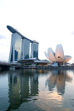 singapore building: Marina Bay Waterfront in Singapore,featuring Marina Bay Sands, lotus-shaped ArtScience Museum and Helix Bridge