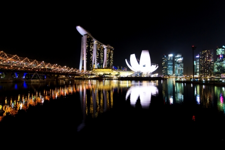View of The Marina Bay Sands Hotel and Integrated Resort, the Double Helix Bridge and the Singapore Arts and Science Museum at night