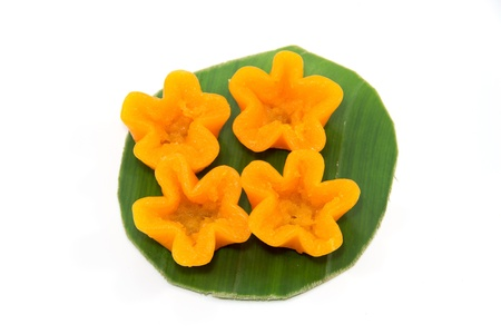 thai dessert ,thai sweets ,made of bean ,coconut milk and egg cooked in syrup or call  thongyod  ;  thong yip  ;  foythong  photo
