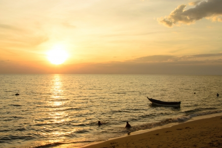 Beautiful sunset at Khung Wiman Beach  Thailand photo