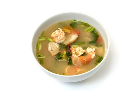 favorite soup: Tom Yum Goong soup with shrimp ,favorite Thai food Stock Photo