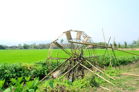 Bamboo water wheel. The use of water power for irrigation,Thailand photo