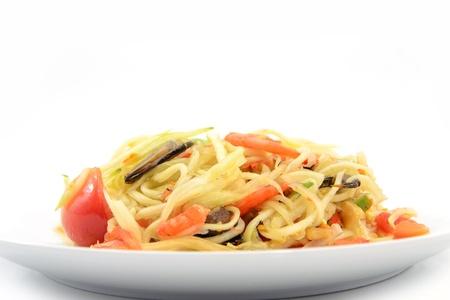 tam: Papaya Salad,Thai Som Tam with crab Stock Photo