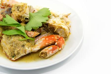 stirred: stirred Fried Crab with Garlic, Pepper, Curry Powder