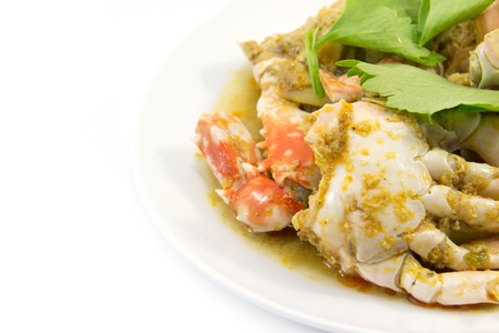 ster fried crab meat with curry powder Stock Photo
