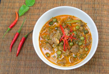 Panang Curry with Beef Recipe  Panang Neua ,thai food photo