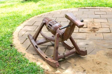 Wooden Rocking Horse in playground photo