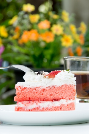 Strawberry Cake with tea photo