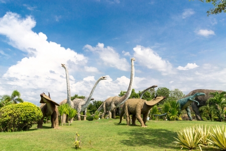 tyrannosaur: public parks of statues and dinosaur bones at Phu-Kum-Khao in Kalasin province, northeast Thailand