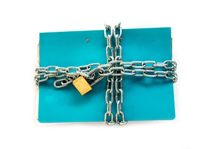 self contained: file folder with chain and padlock closed  privacy and data