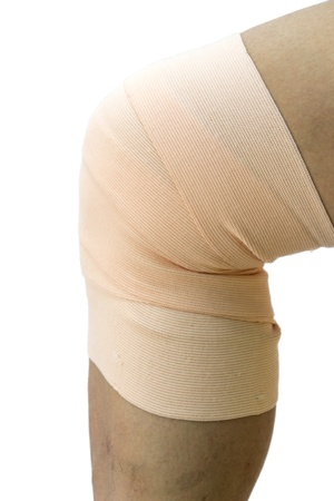 anklebone: male knee with a bandage