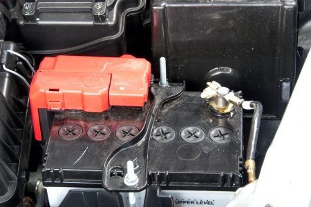 car battery in the engine room photo