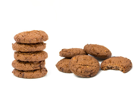 stack of chocolate cookies isolated on white background photo
