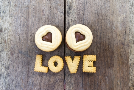 heart shape  biscuits on wood photo