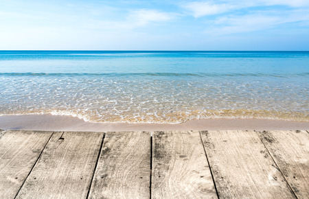 sea and wooden floor photo