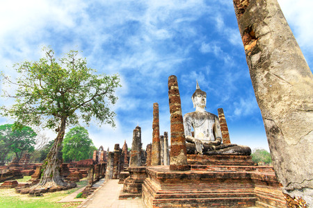 Buddha Statue at Wat Mahathat in Sukhothai Historical photo
