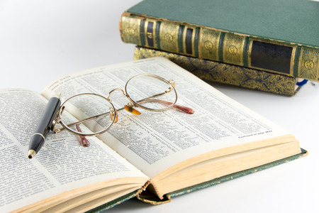 Book and Glasses  Vintage style photo