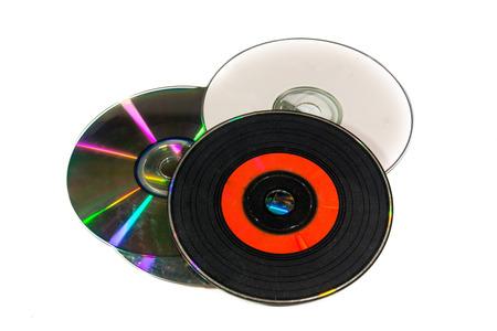 cd label: old CD on white background