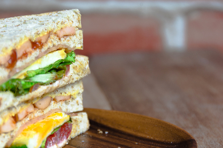 sanwich: egg sanwich on wooden plate Stock Photo