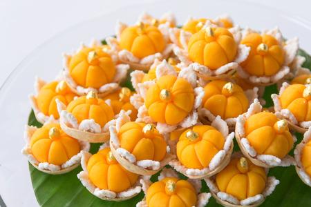 Thai traditional dessert Da Ra Tong on white background