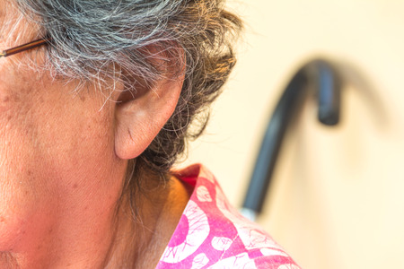 ear of old woman.old skin