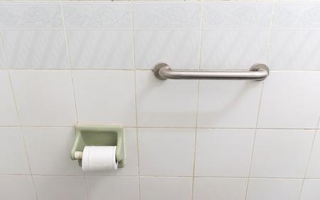 grab bar handrail in a bathroom .concept safety in the bathroom
