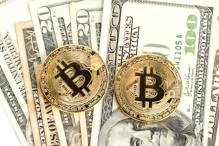 Bitcoin and banknotes dollar.Digital Money and Bitcoine Concept Stock Photo
