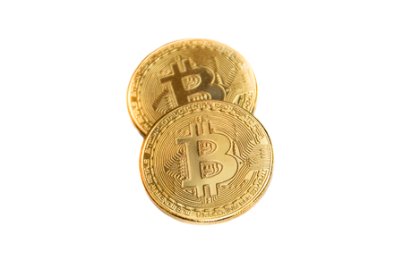 golden bitcoin coin on white background.Virtual cryptocurrency concept