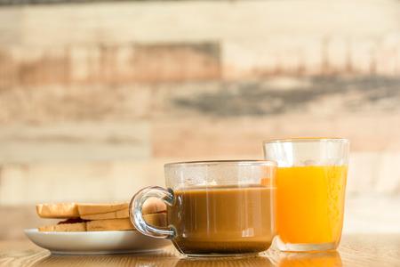 breakfast with coffee,orange juice,toasts jam Stock Photo