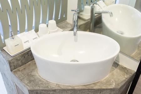 Modern sink in the bathroom Stock Photo