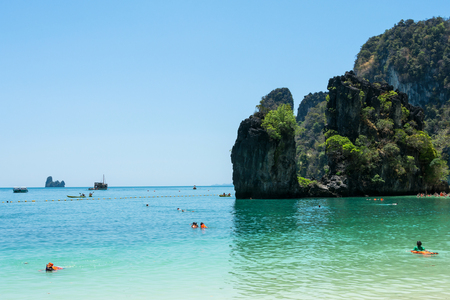 view of the bay from the island of Hong tropical sea at Krabi thailand