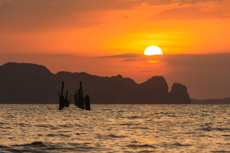 Abstract Dramatic beach and twilight sunset.during sunset at Hong Island in krabi thailand