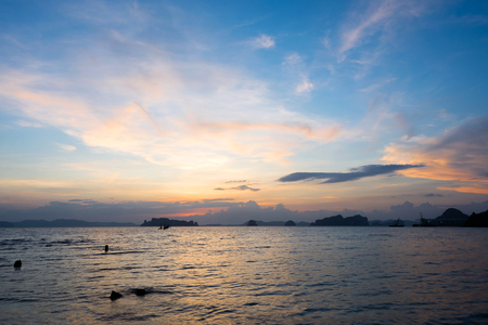sea and sky during sunrise and and twilight sunset at krabi thailand
