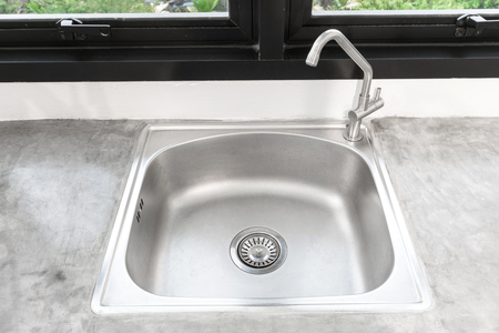 Kitchen Sink Stainless Steel and faucet.Kitchen Sink Top View